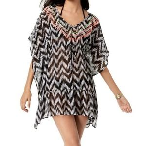 MIKEN Embroidery Ruffled Tunic CoverUp SM NWT